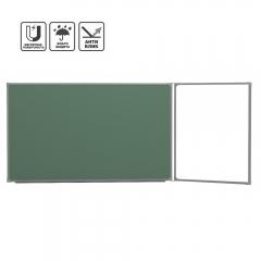 Доска школьная 2-элем. BoardSYS 120x225 см (150-75), магнитно-маркерно-меловая антибликовая (ДЭ1*225Кпр) Правая
