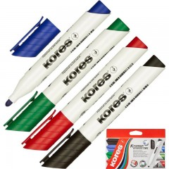Набор маркеров для доски KORES 20843, пулевидный наконечник, линия 3 мм, упаковка 4 шт