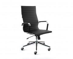 Кресло NORDEN Техно, хром, черная экокожа, премиум (H-100)